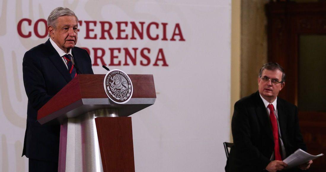 Andrés Manuel López Obrador y Marcelo Ebrard durante la conferencia matutina para dar detalles respecto al caso Salvador Cienfuegos Zepeda