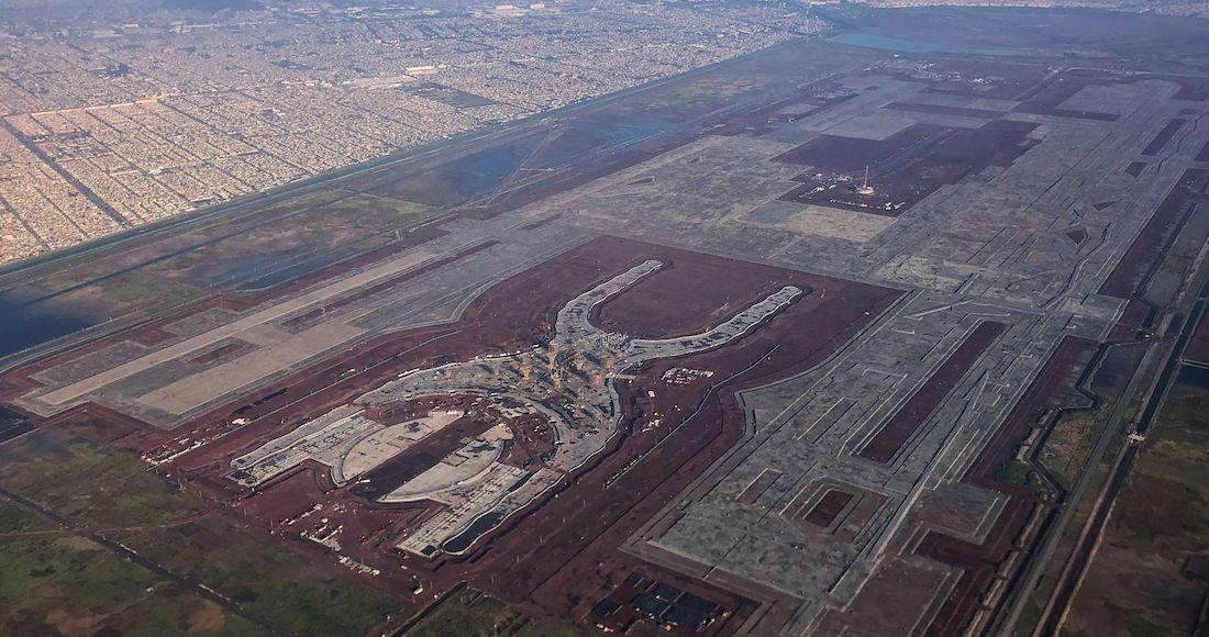 TEXCOCO, ESTADO DE MÉXICO, 06NOVIEMBRE2018.- Vista aérea de la construcción del Nuevo Aeropuerto Internacional de México, en el cual continúan los trabajos hasta la entrada del próximo gobierno federal que planea cancelar la obra.FOTO: ISAAC ESQUIVEL /CUARTOSCURO.COM